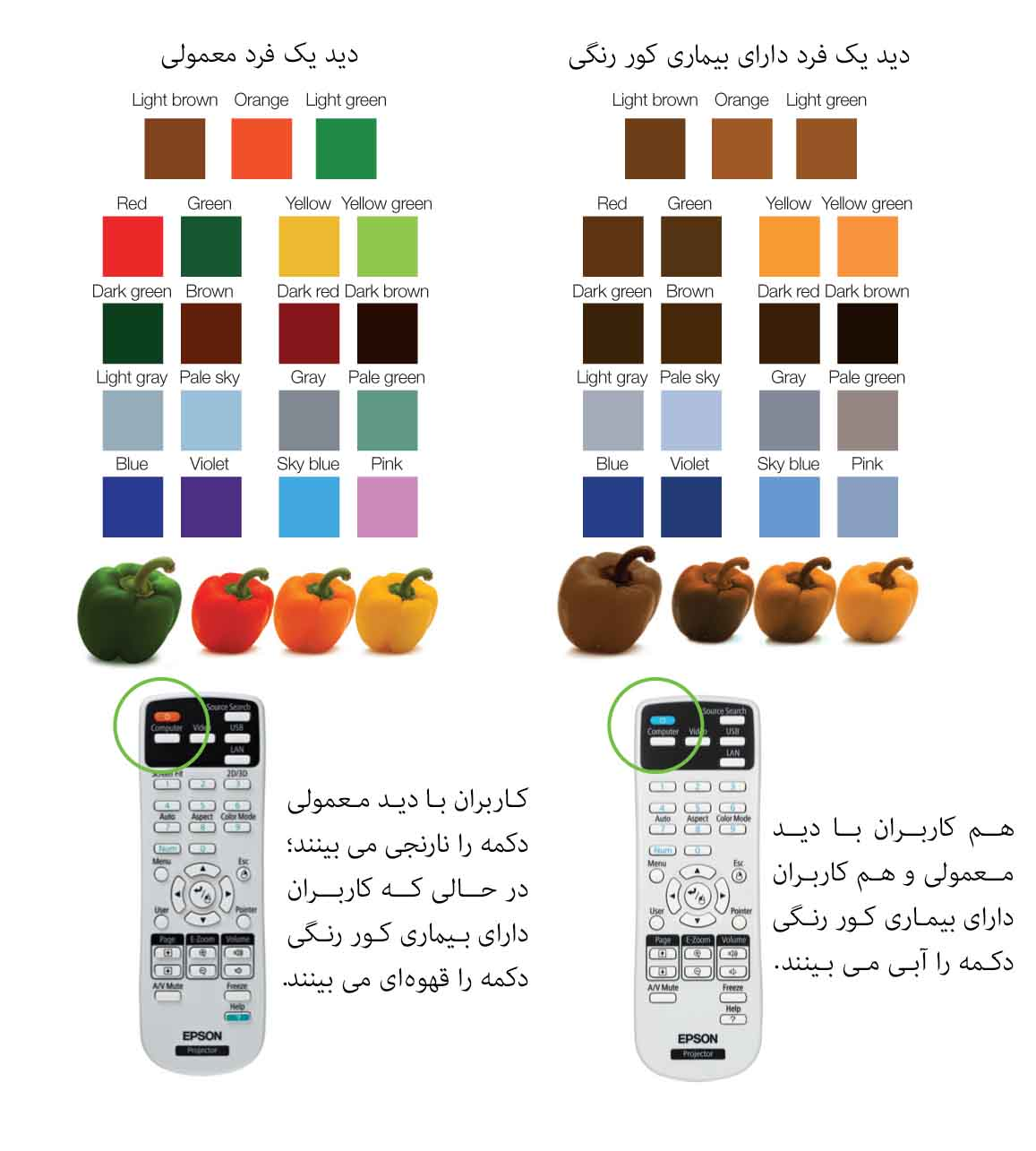 طراحی جهانی رنگ در پروژکتور EB-S18
