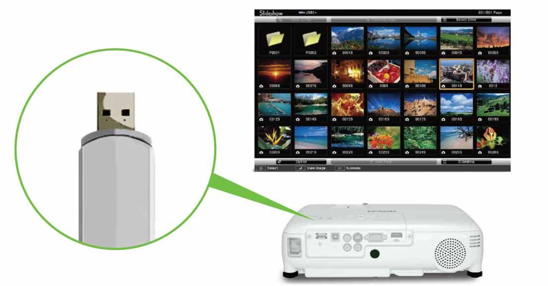 قابلیت پخش بدون واسطه USB در پروژکتور EB S18