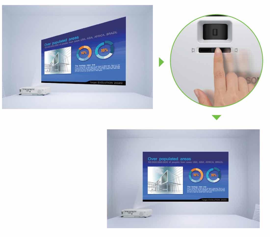 دکمه اسلایدی تصحیح ذوزنقه ای در ویدئو پروژکتور EPSON EB-X20
