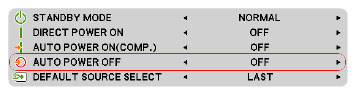 منوی تنظیمات جهت روشن و خاموش شدن خودکار پروژکتور NP-VE281G