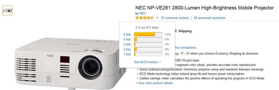 تصویر آراء کاربران سایت آمازون به پروژکتور NP-VE281G